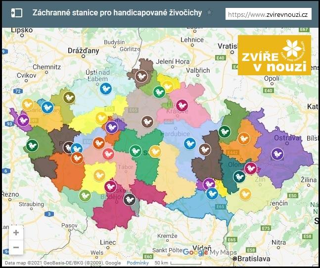 Mapa stanic CR